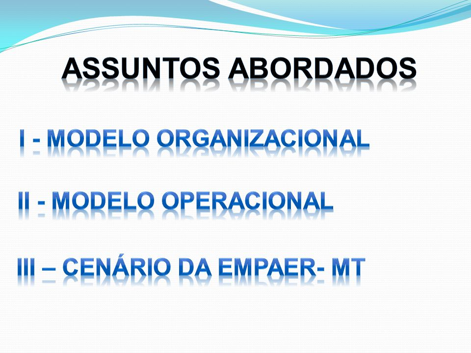 Assuntos Abordados I - MODELO ORGANIZACIONAL II - Modelo operacional