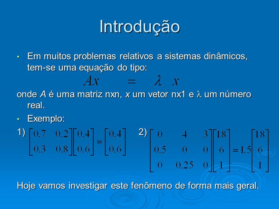 Introdução Em muitos problemas relativos a sistemas dinâmicos, tem-se uma equação do tipo:
