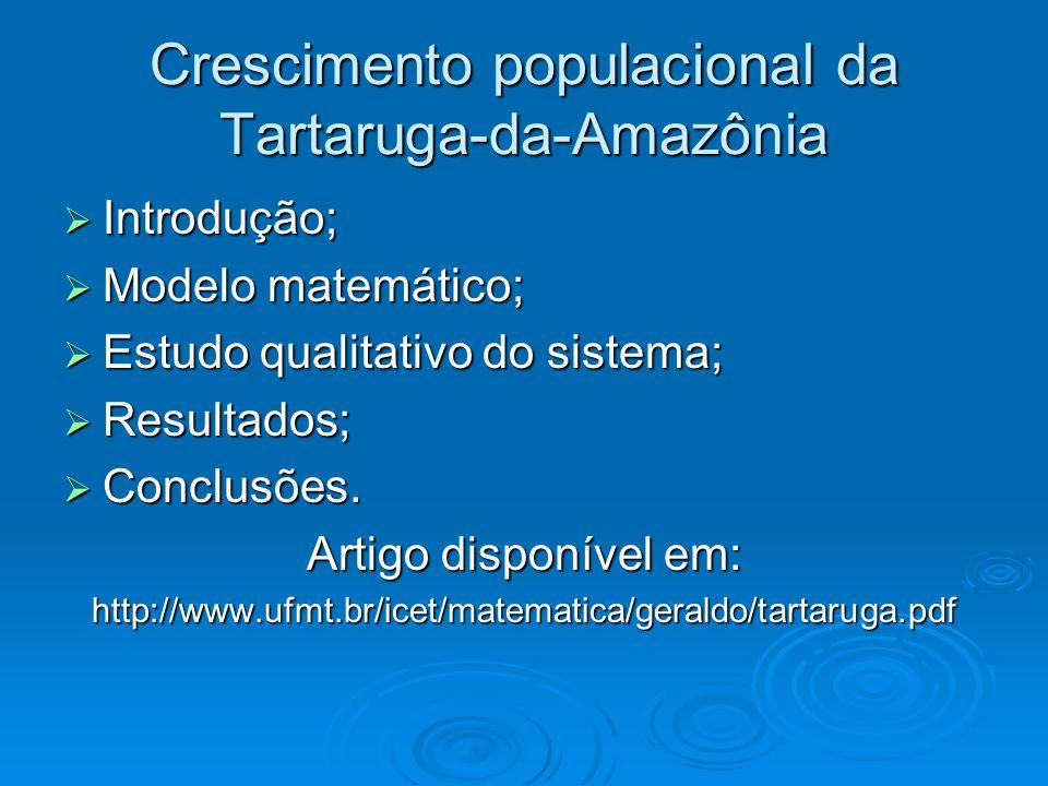 Crescimento populacional da Tartaruga-da-Amazônia