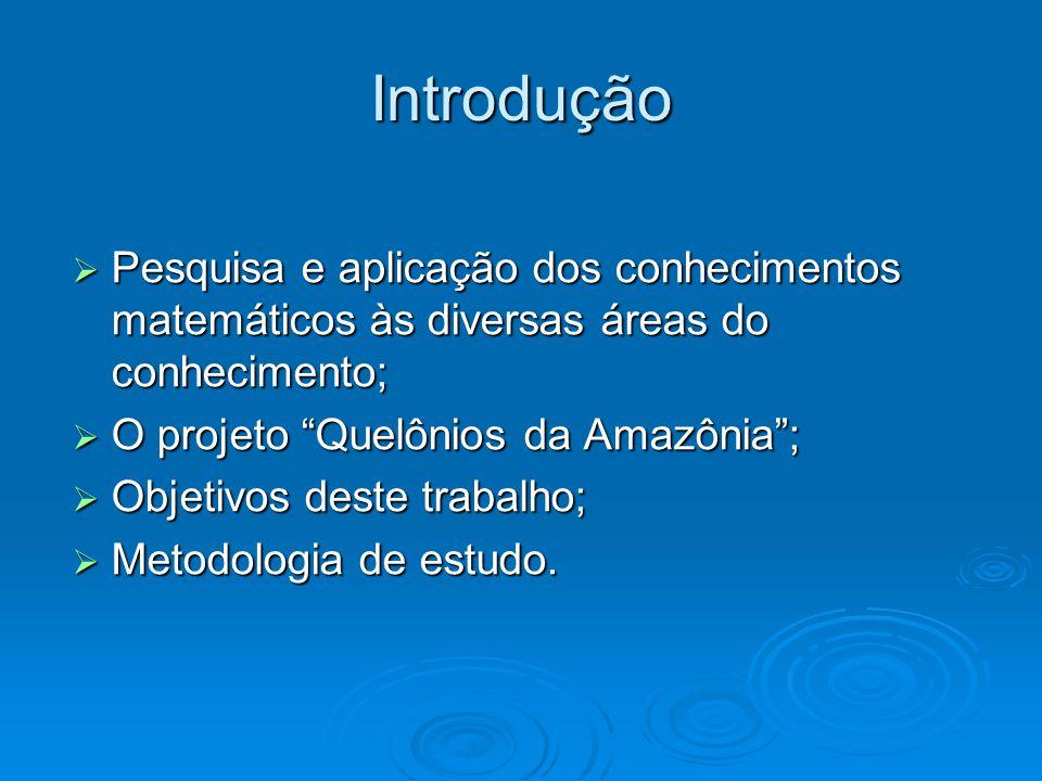 Introdução Pesquisa e aplicação dos conhecimentos matemáticos às diversas áreas do conhecimento; O projeto Quelônios da Amazônia ;