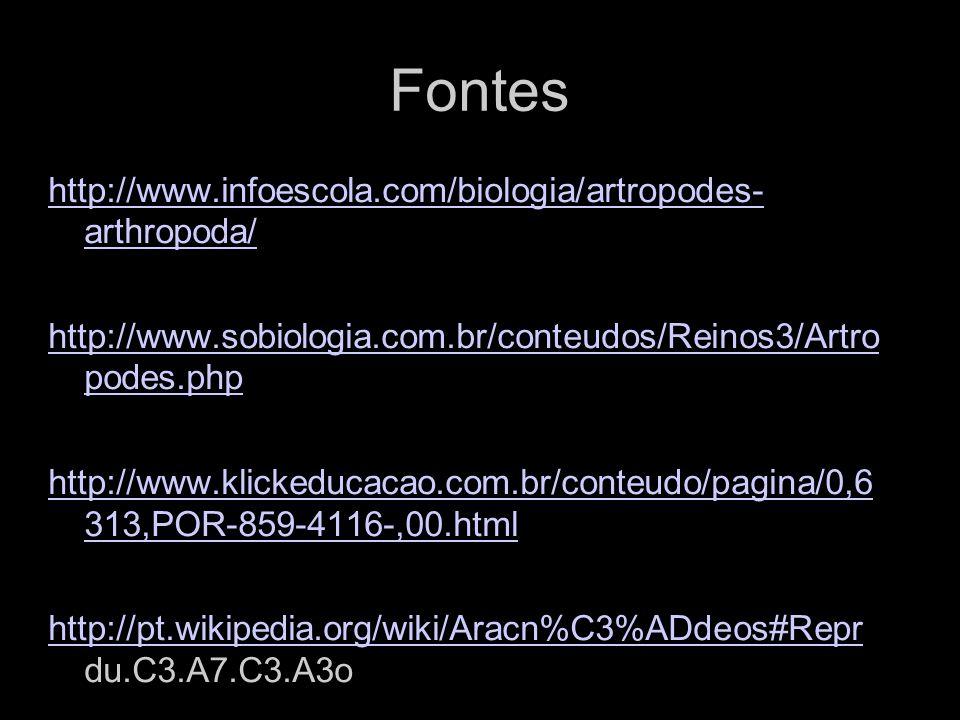 Fontes http://www.infoescola.com/biologia/artropodes- arthropoda/