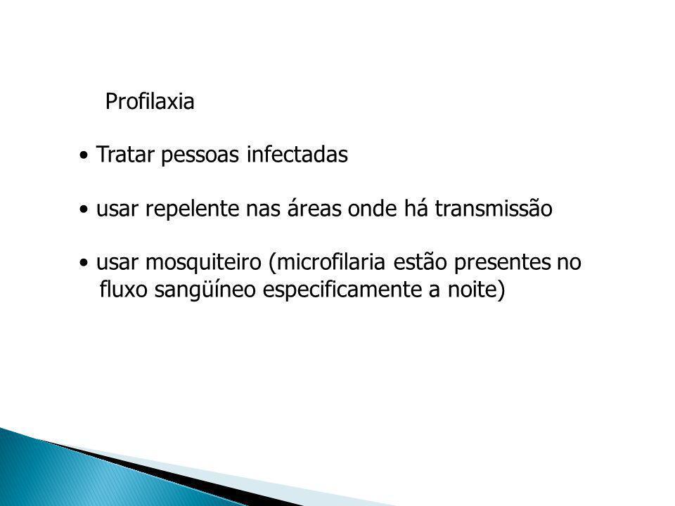 Profilaxia Tratar pessoas infectadas. usar repelente nas áreas onde há transmissão. usar mosquiteiro (microfilaria estão presentes no.