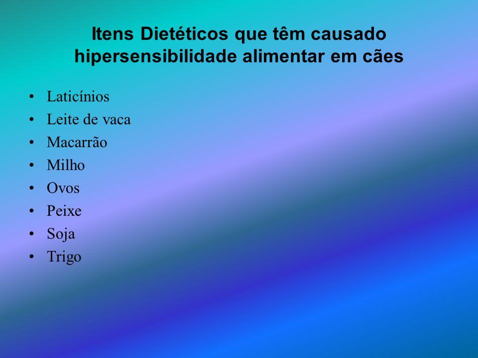 Itens Dietéticos que têm causado hipersensibilidade alimentar em cães
