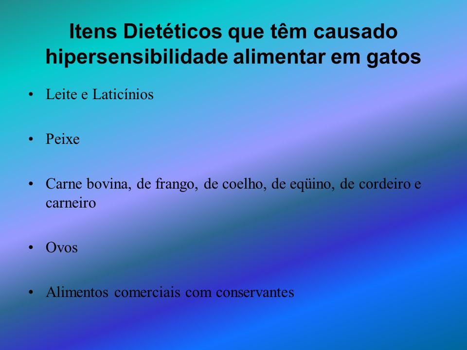 Itens Dietéticos que têm causado hipersensibilidade alimentar em gatos