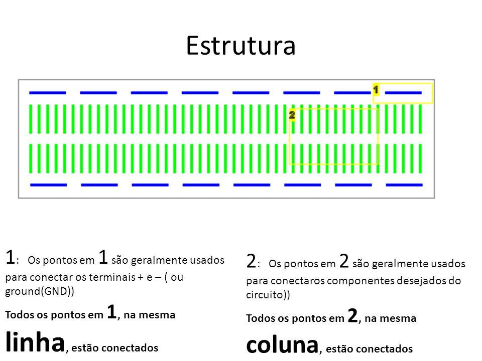Estrutura 1: Os pontos em 1 são geralmente usados para conectar os terminais + e – ( ou ground(GND))