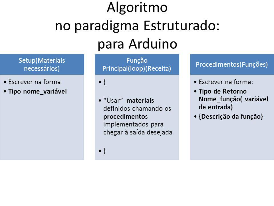 Algoritmo no paradigma Estruturado: para Arduino
