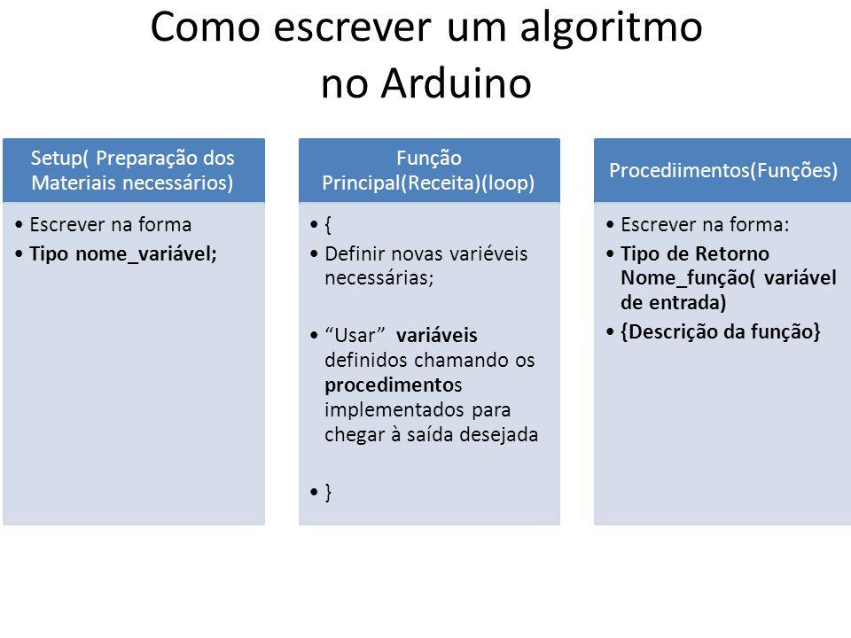 Como escrever um algoritmo no Arduino