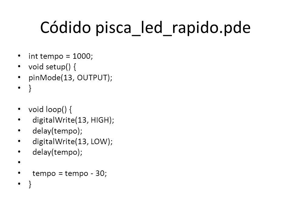 Códido pisca_led_rapido.pde