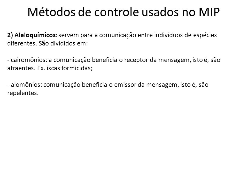 Métodos de controle usados no MIP