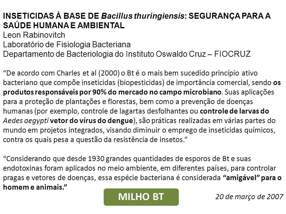 INSETICIDAS À BASE DE Bacillus thuringiensis: SEGURANÇA PARA A SAÚDE HUMANA E AMBIENTAL