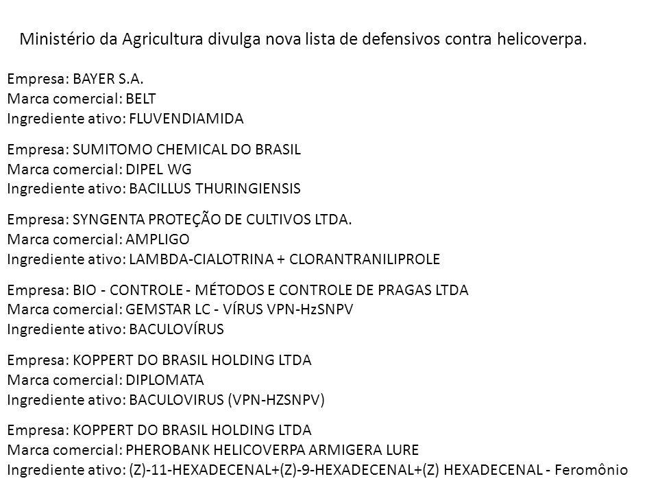 Ministério da Agricultura divulga nova lista de defensivos contra helicoverpa.
