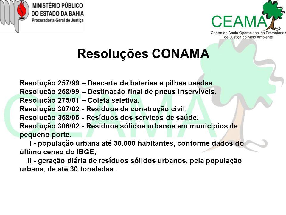 Resoluções CONAMA Resolução 257/99 – Descarte de baterias e pilhas usadas. Resolução 258/99 – Destinação final de pneus inservíveis.