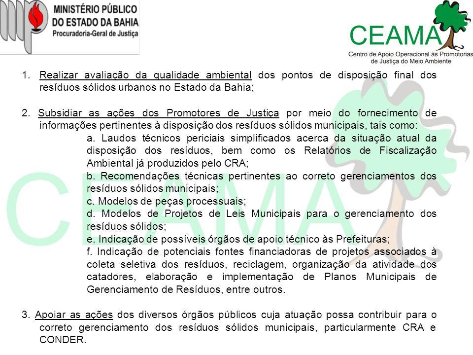 Realizar avaliação da qualidade ambiental dos pontos de disposição final dos resíduos sólidos urbanos no Estado da Bahia;