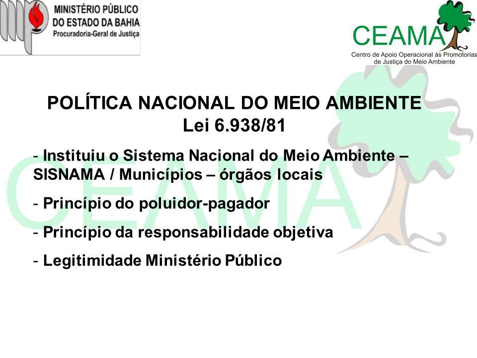 POLÍTICA NACIONAL DO MEIO AMBIENTE Lei 6.938/81