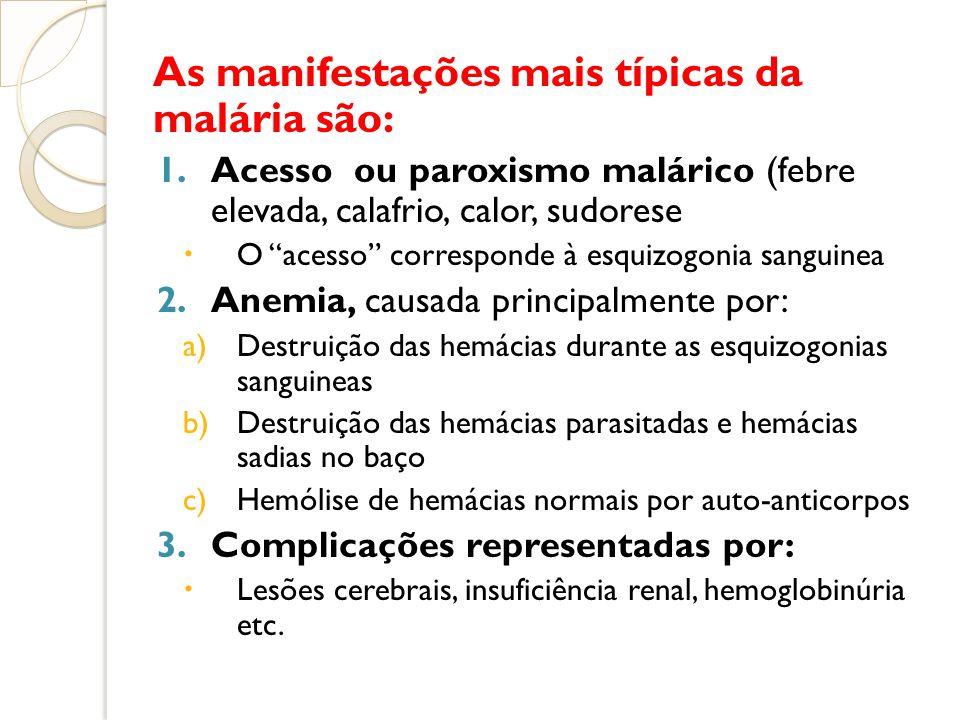 As manifestações mais típicas da malária são: