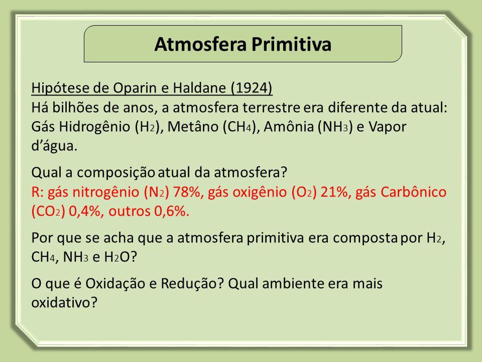 Atmosfera Primitiva Hipótese de Oparin e Haldane (1924)