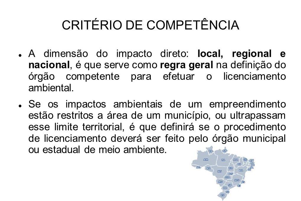 CRITÉRIO DE COMPETÊNCIA