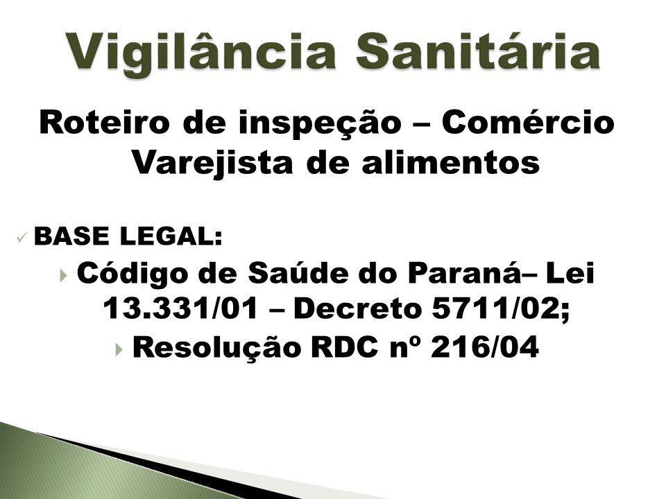 Vigilância Sanitária Roteiro de inspeção – Comércio Varejista de alimentos. BASE LEGAL: