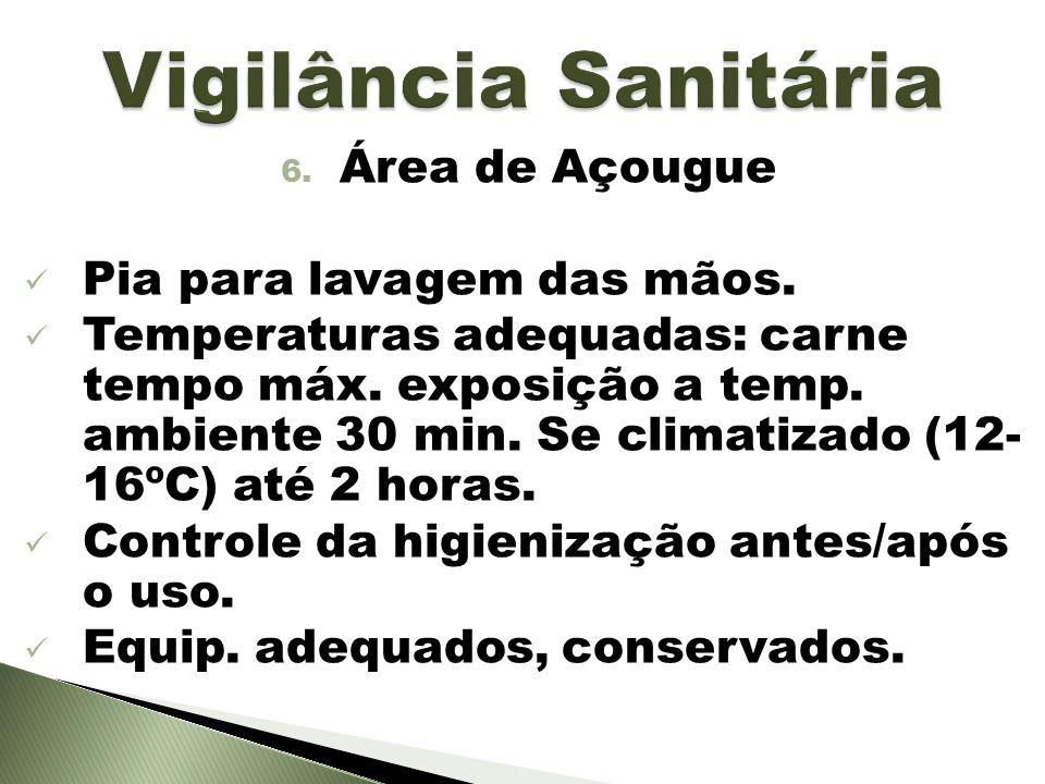 Vigilância Sanitária Área de Açougue Pia para lavagem das mãos.