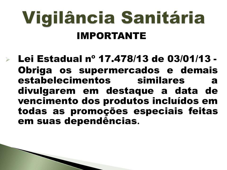 Vigilância Sanitária IMPORTANTE