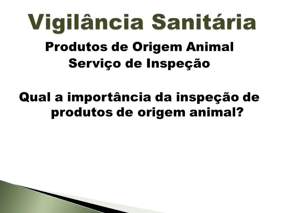 Vigilância Sanitária Produtos de Origem Animal Serviço de Inspeção Qual a importância da inspeção de produtos de origem animal.