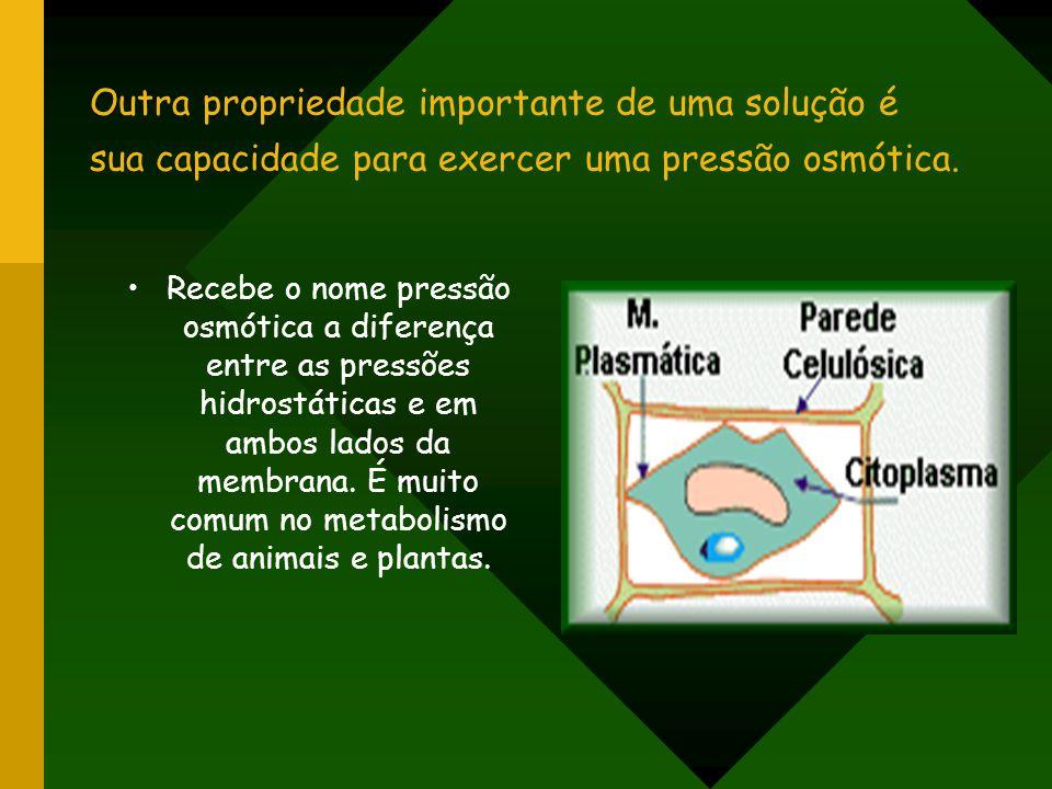 Outra propriedade importante de uma solução é sua capacidade para exercer uma pressão osmótica.