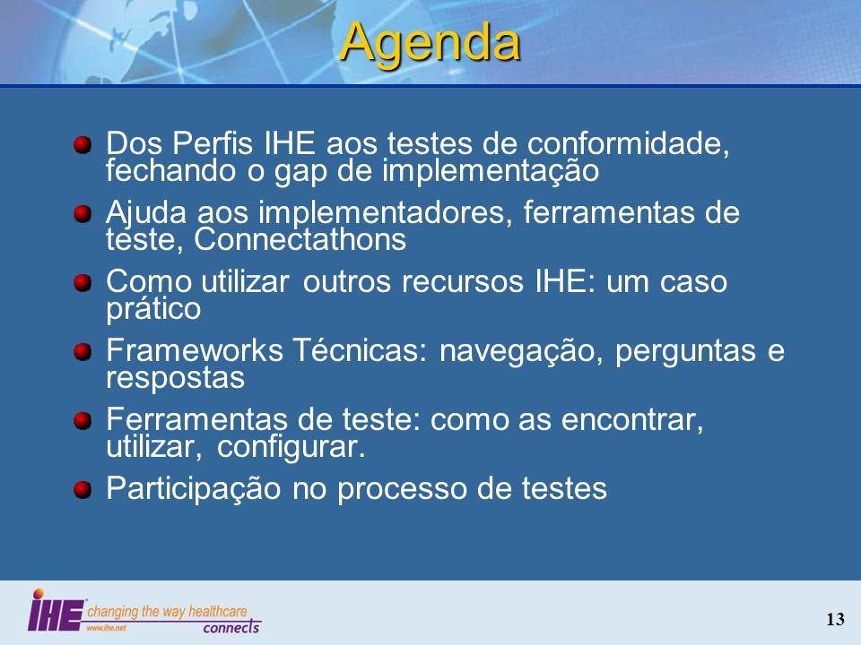AgendaDos Perfis IHE aos testes de conformidade, fechando o gap de implementação. Ajuda aos implementadores, ferramentas de teste, Connectathons.