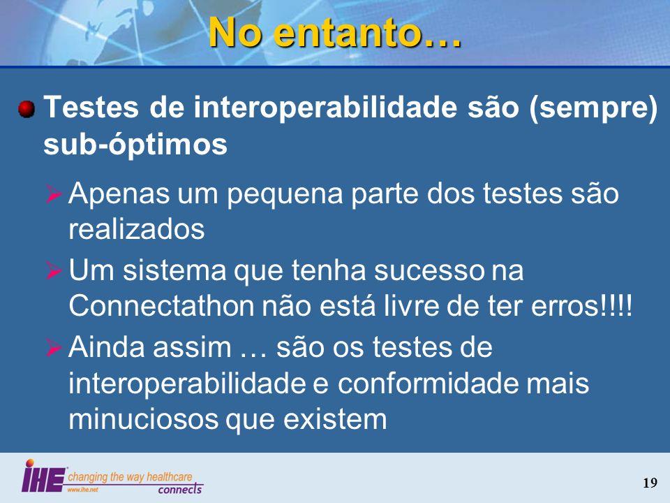 No entanto… Testes de interoperabilidade são (sempre) sub-óptimos