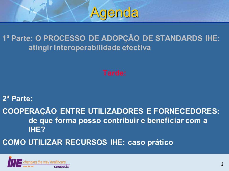 Agenda 1ª Parte: O PROCESSO DE ADOPÇÃO DE STANDARDS IHE: atingir interoperabilidade efectiva. Tarde: