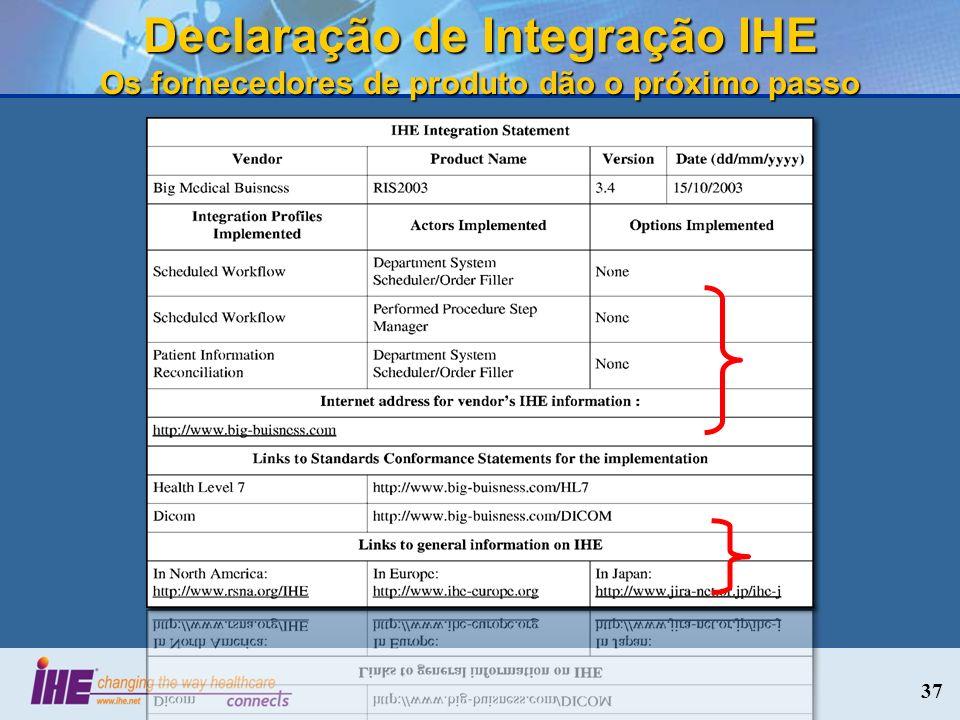 Declaração de Integração IHE Os fornecedores de produto dão o próximo passo