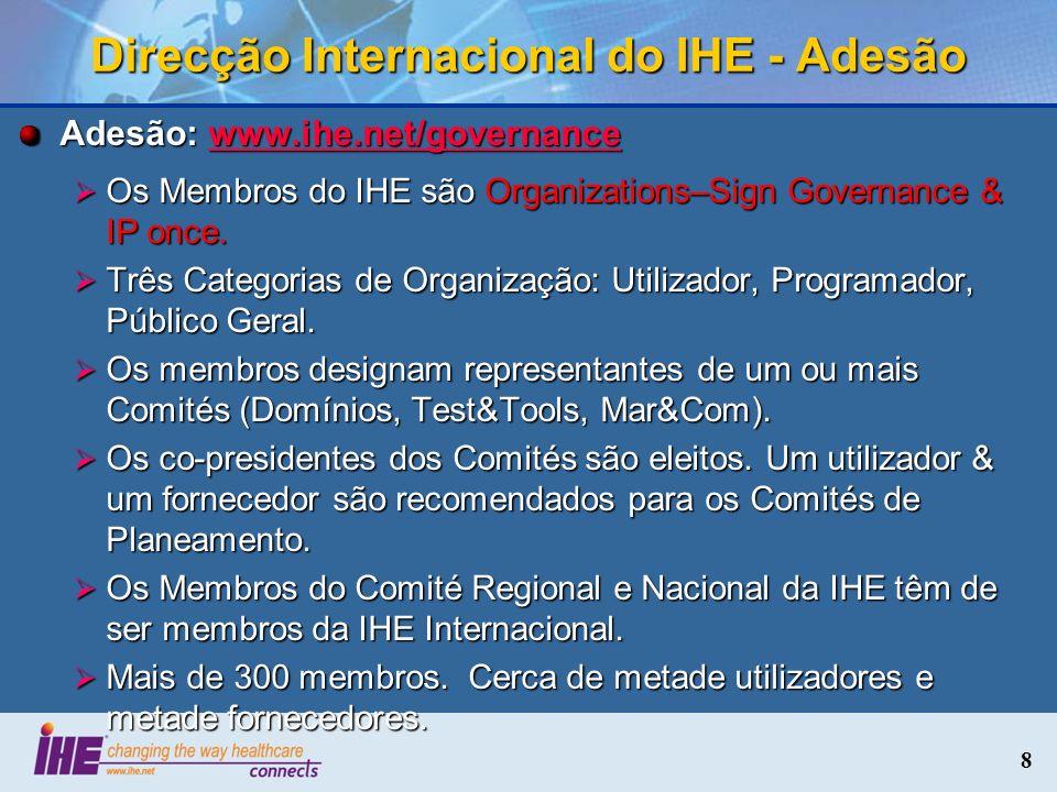 Direcção Internacional do IHE - Adesão