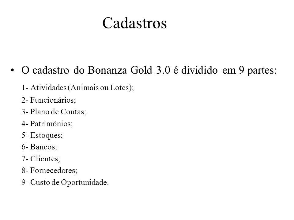 Cadastros O cadastro do Bonanza Gold 3.0 é dividido em 9 partes: