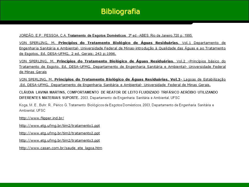 Bibliografia JORDÃO, E.P.; PESSOA, C.A. Tratamento de Esgotos Domésticos. 3ª ed.- ABES, Rio de Janeiro,720 p.;1995.