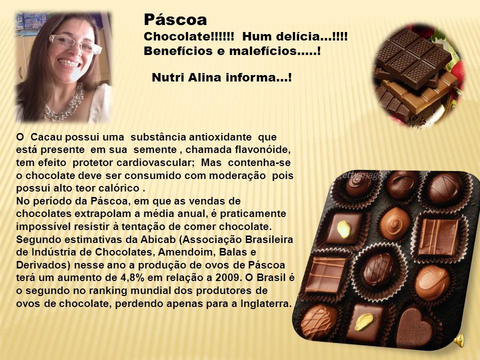 Páscoa Chocolate!!!!!! Hum delícia...!!!! Benefícios e malefícios.....! Nutri Alina informa...!