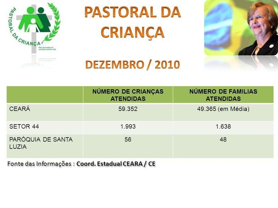 NÚMERO DE CRIANÇAS ATENDIDAS NÚMERO DE FAMILIAS ATENDIDAS