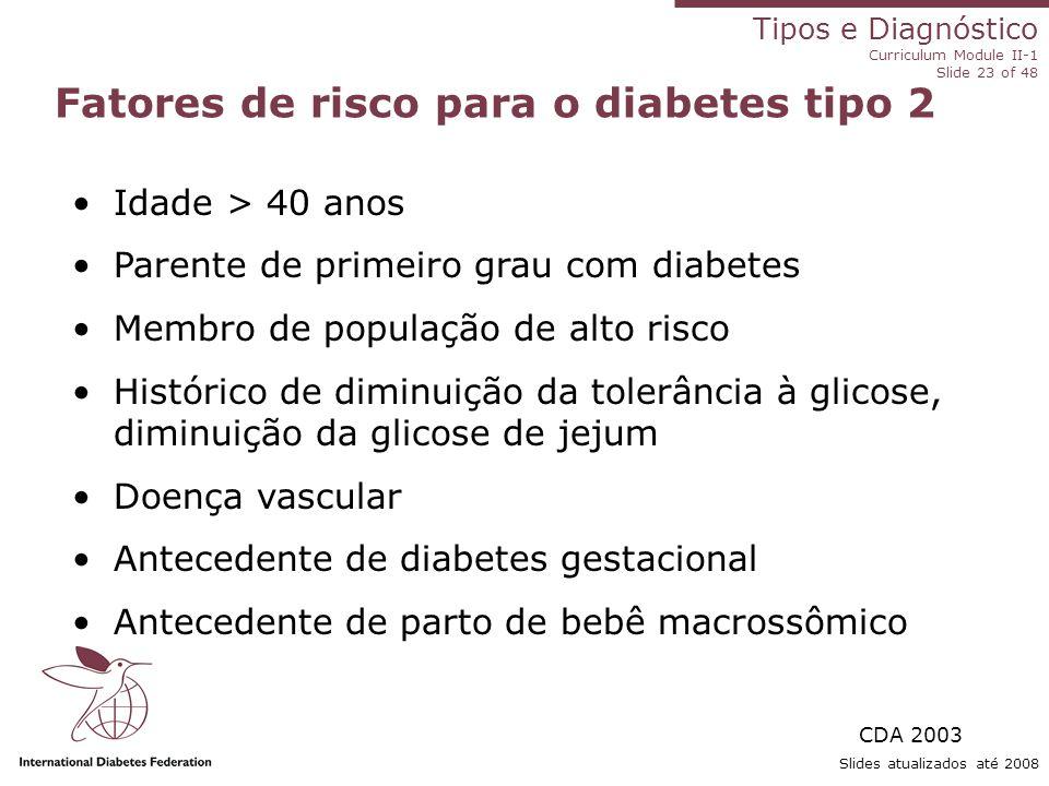 Fatores de risco para o diabetes tipo 2