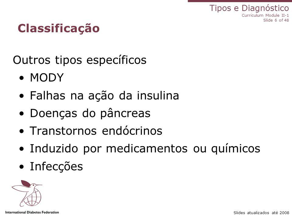 Outros tipos específicos MODY Falhas na ação da insulina