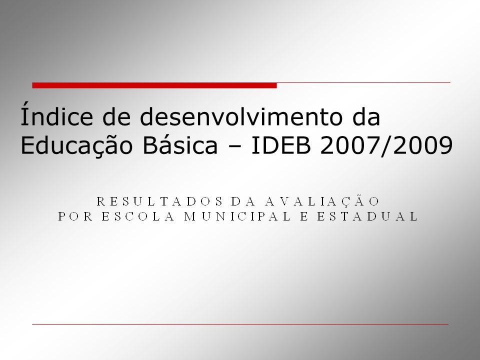 Índice de desenvolvimento da Educação Básica – IDEB 2007/2009