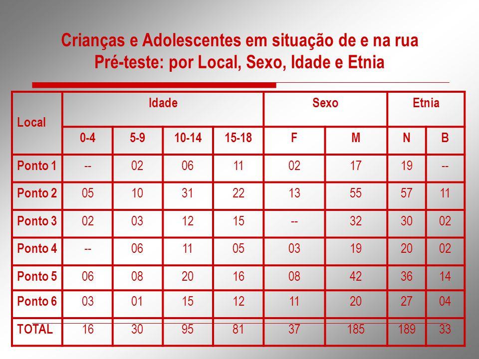 Crianças e Adolescentes em situação de e na rua Pré-teste: por Local, Sexo, Idade e Etnia