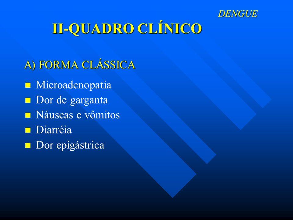 A) FORMA CLÁSSICA Microadenopatia Dor de garganta Náuseas e vômitos