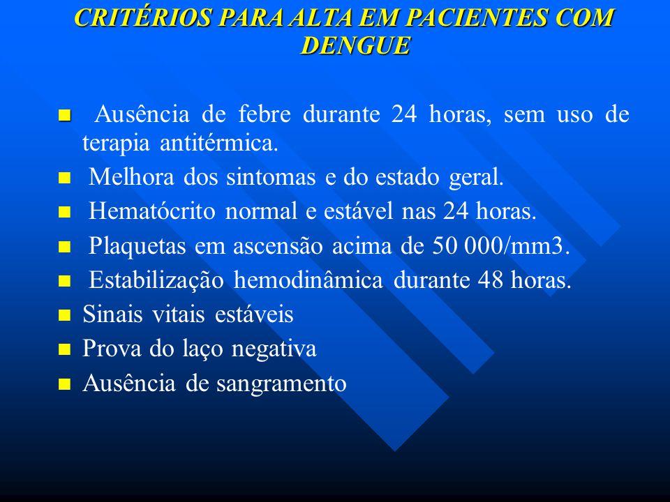 CRITÉRIOS PARA ALTA EM PACIENTES COM DENGUE