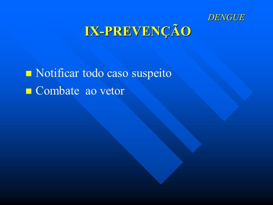 Notificar todo caso suspeito Combate ao vetor