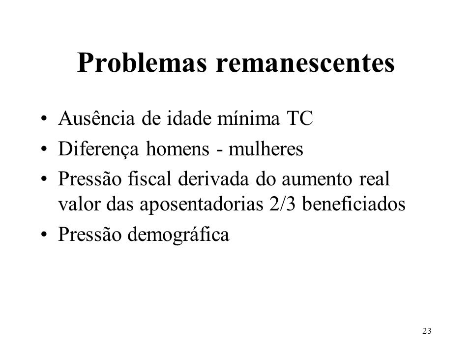 Problemas remanescentes