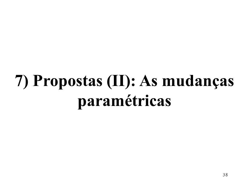7) Propostas (II): As mudanças paramétricas