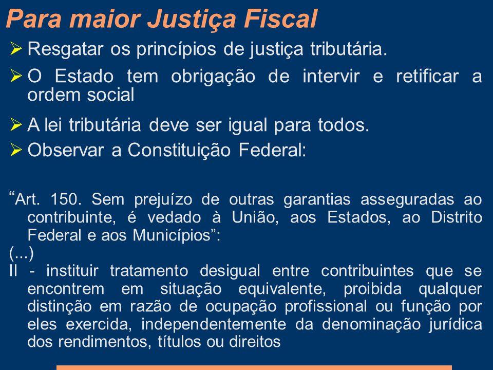 Para maior Justiça Fiscal