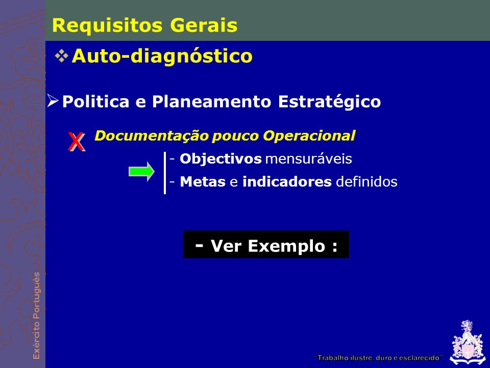 x Requisitos Gerais Auto-diagnóstico