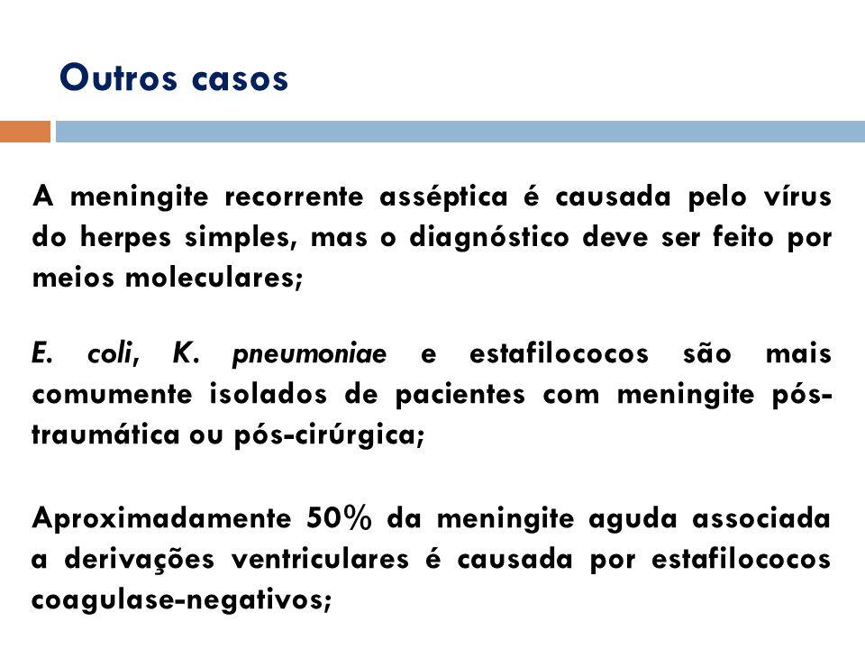 Outros casos A meningite recorrente asséptica é causada pelo vírus do herpes simples, mas o diagnóstico deve ser feito por meios moleculares;