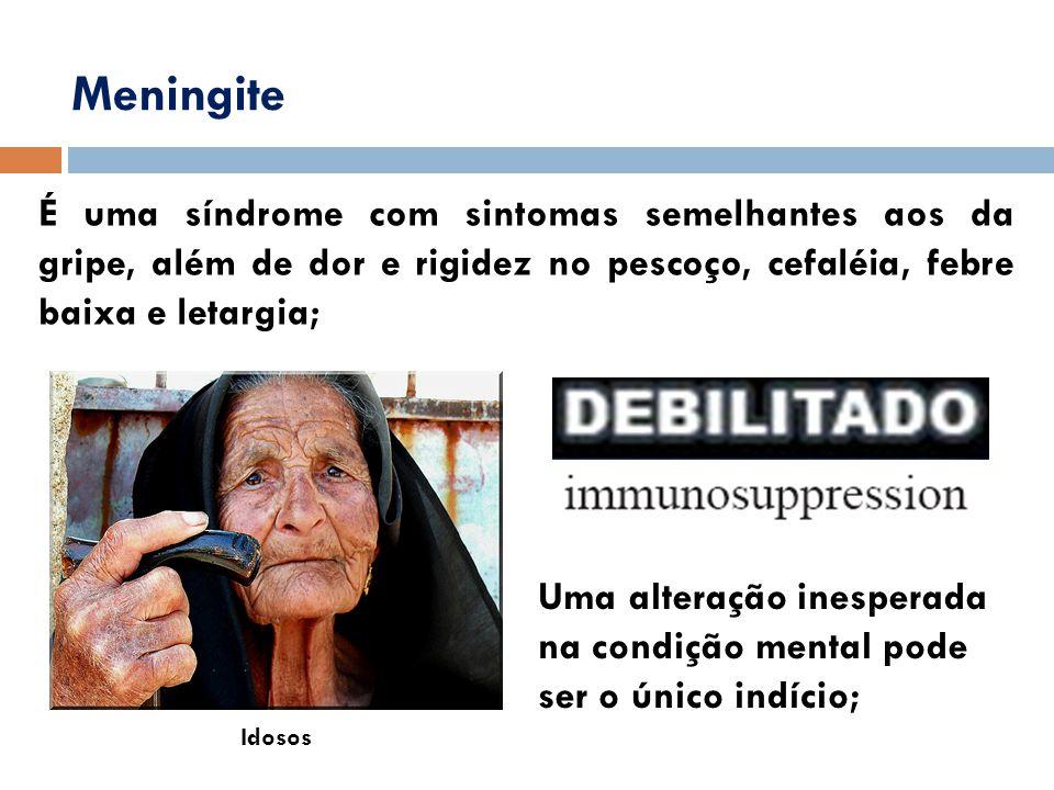 Meningite É uma síndrome com sintomas semelhantes aos da gripe, além de dor e rigidez no pescoço, cefaléia, febre baixa e letargia;