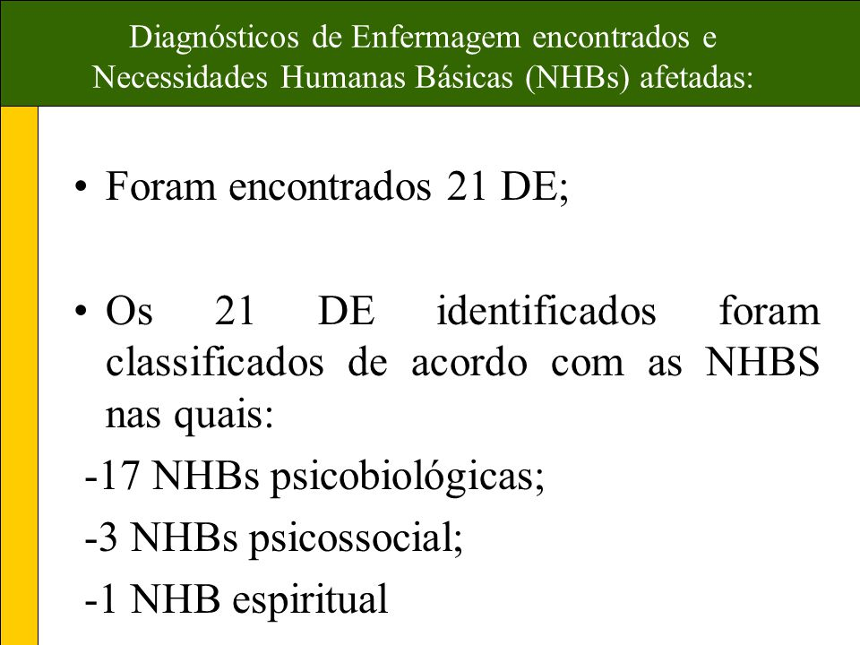 -17 NHBs psicobiológicas; -3 NHBs psicossocial; -1 NHB espiritual