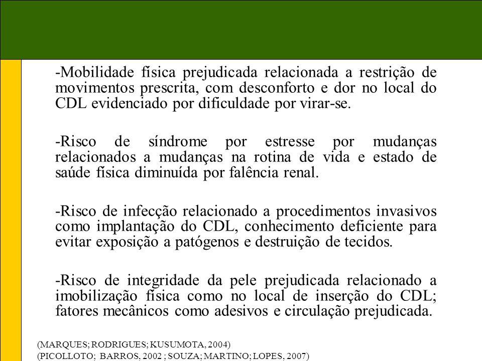 -Mobilidade física prejudicada relacionada a restrição de movimentos prescrita, com desconforto e dor no local do CDL evidenciado por dificuldade por virar-se.